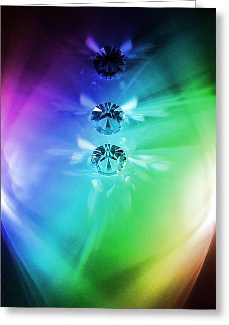 Rainbow Crystals Greeting Card by Marianna Mills