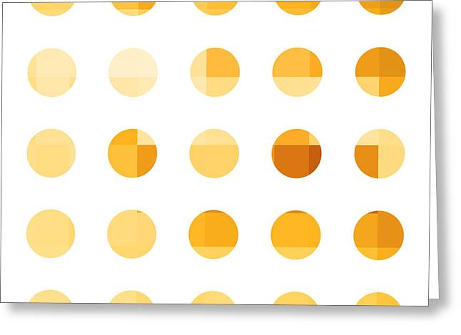 Rainbow Dots Orange Greeting Card by Pixel Chimp
