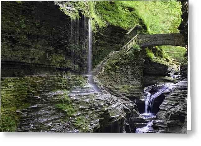 Rainbow Falls And Stone Bridge Greeting Card by Gene Walls