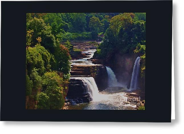 Rainbow Falls Ausable Chasm Greeting Card by Courtney Dagan