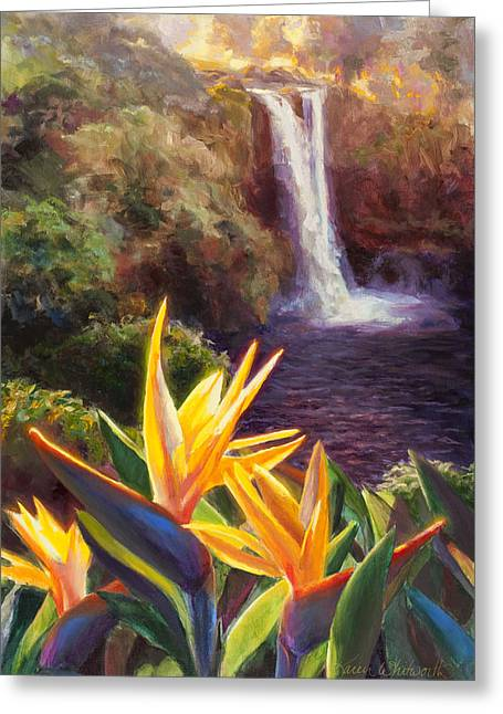 Rainbow Falls Big Island Hawaii Waterfall  Greeting Card