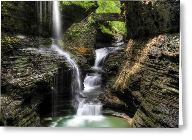 Rainbow Falls - Landscape Greeting Card by Lori Deiter