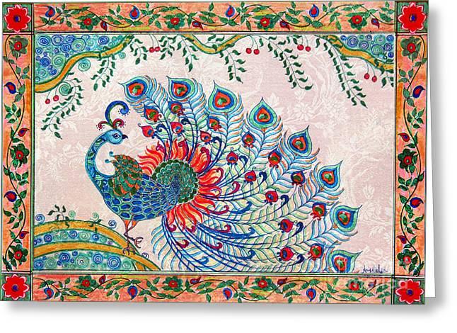 Rainbow Feathers Greeting Card by Anjali Vaidya