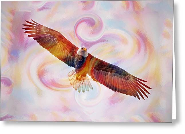 Rainbow Flying Eagle Watercolor Painting Greeting Card