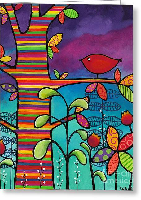Rainbow Forest Greeting Card by Carla Bank