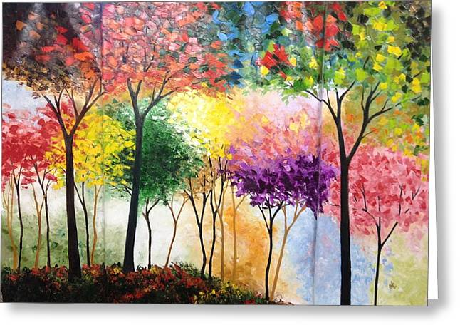 Rainbow Forest Greeting Card by Shilpi Singh
