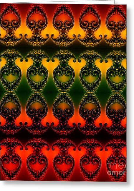 Greeting Card featuring the digital art Rainbow Fractal Pattern by Clayton Bruster