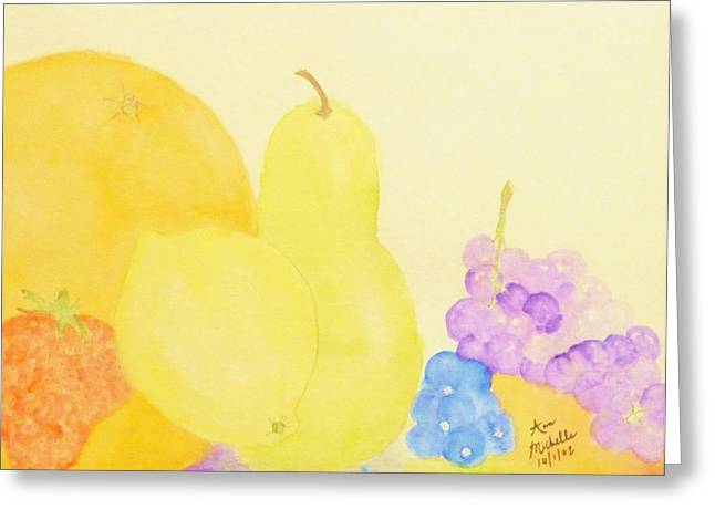 Rainbow Fruits And The Floating Lemon Greeting Card by Ann Michelle Swadener