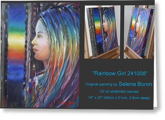 Greeting Card featuring the painting Rainbow Girl 241008 by Selena Boron