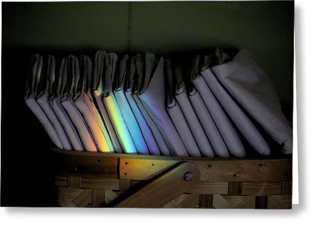 Rainbow In A Basket Greeting Card