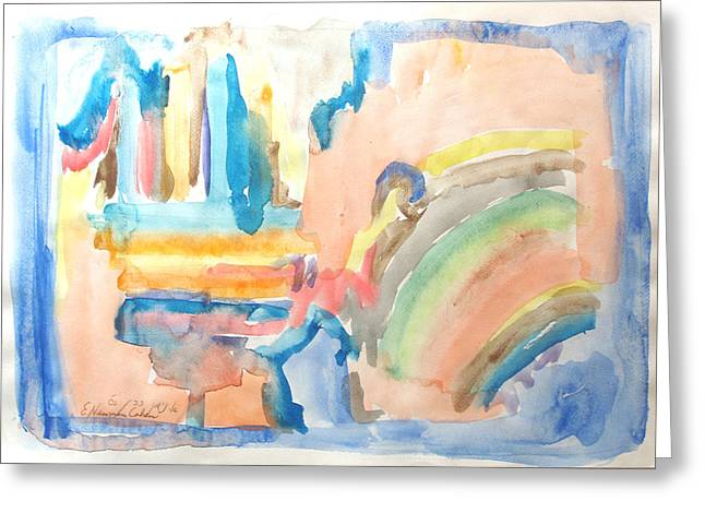 Greeting Card featuring the painting Rainbow In A Box by Esther Newman-Cohen