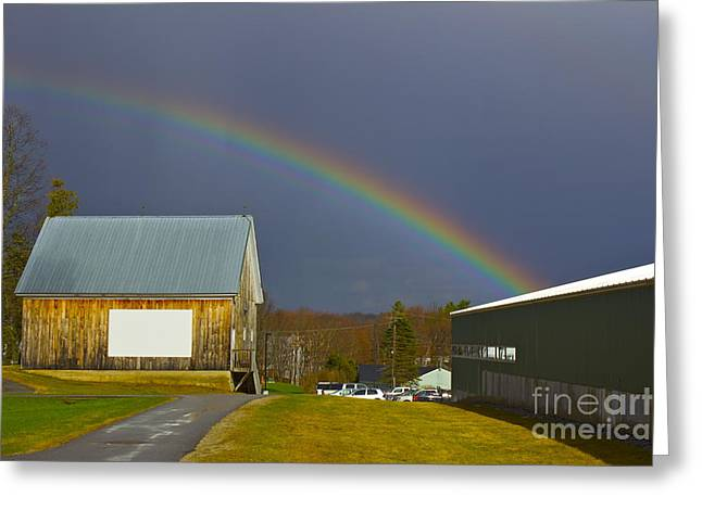Rainbow In Maine Greeting Card by Alice Mainville