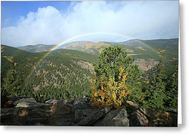Rainbow In Mountains Greeting Card