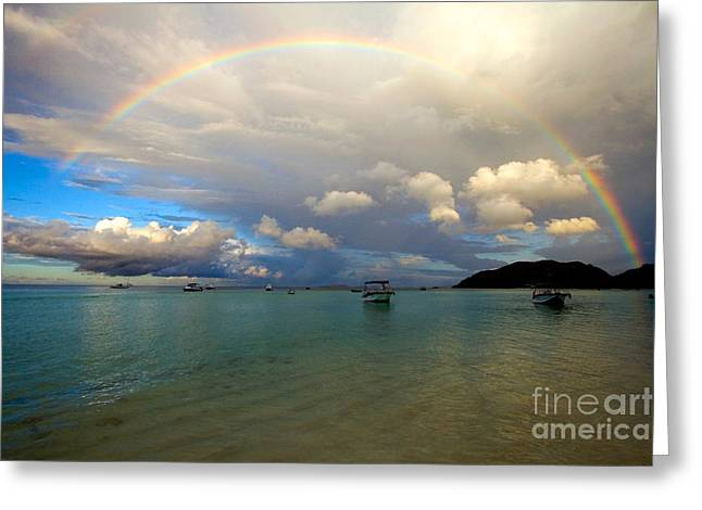 Rainbow In The Seychelles Greeting Card by Tim Holt