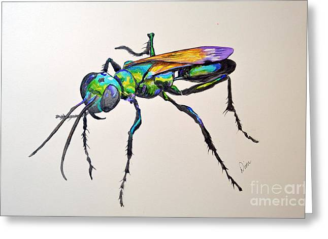 Rainbow Insect Greeting Card by Dion Dior