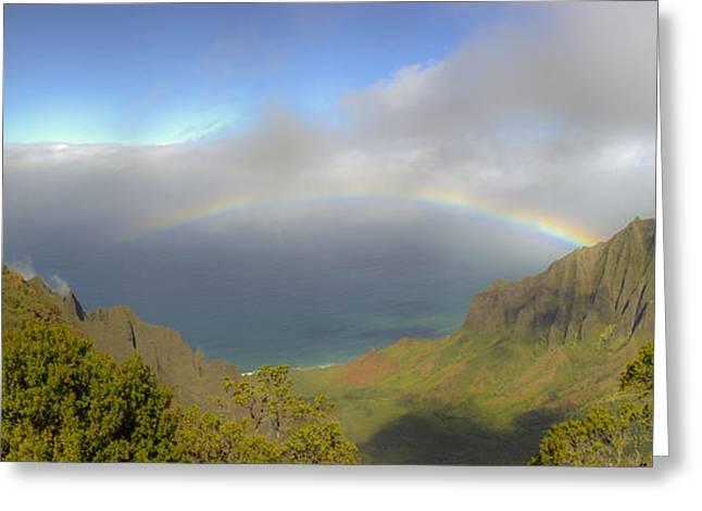 Rainbow Kalalau Valley Greeting Card by Norman Blume
