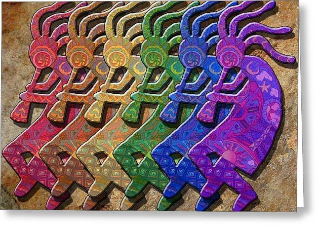 Rainbow Kokopellis Greeting Card