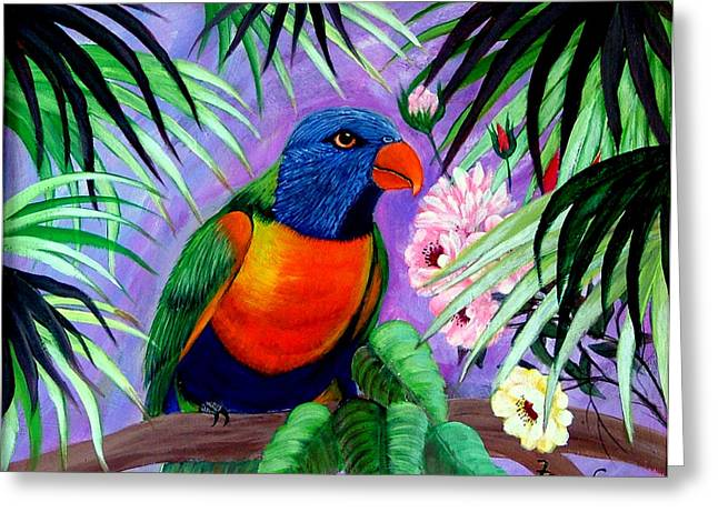 Greeting Card featuring the painting Rainbow Lorikeets. by Fram Cama