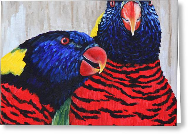 Greeting Card featuring the painting Rainbow Lorikeets by Penny Birch-Williams