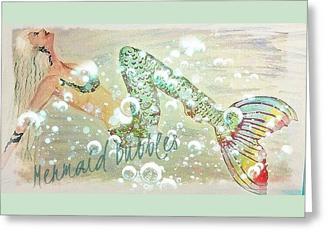 Rainbow Mermaid Bubbles  Greeting Card by ARTography by Pamela Smale Williams