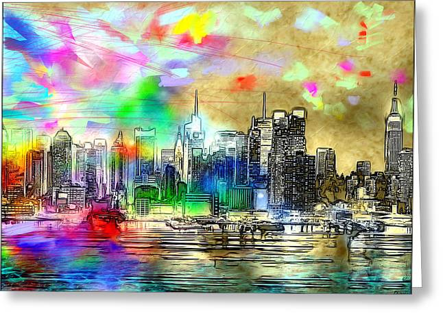 Rainbow Nyc Skyline Greeting Card by Daniel Janda
