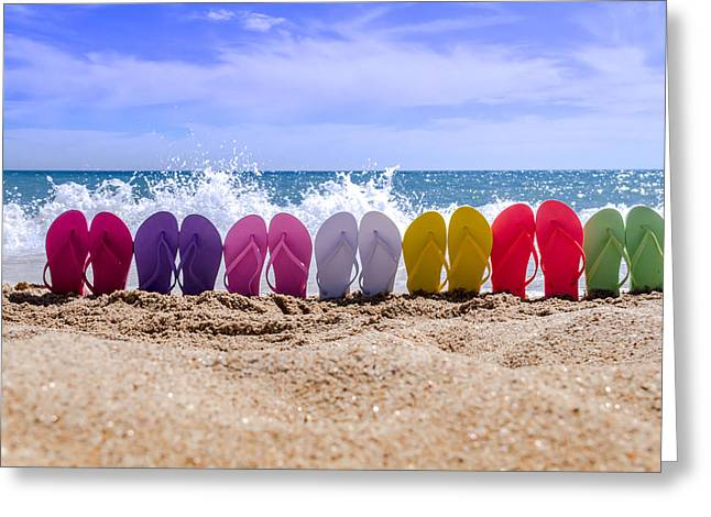 Rainbow Of Flip Flops On The Beach Greeting Card