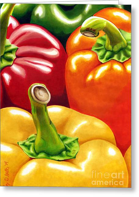 Rainbow Of Peppers Greeting Card