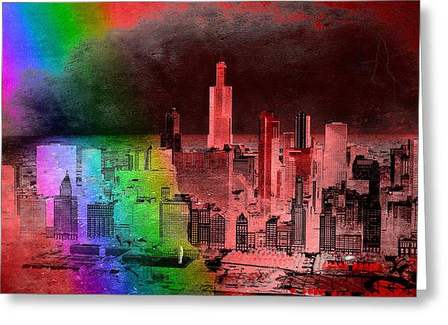 Rainbow On Chicago Mixed Media Textured Greeting Card