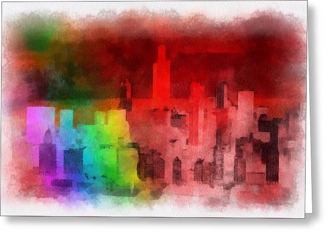 Rainbow On Chicago Greeting Card