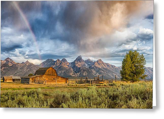 Rainbow On Moulton Barn - Horizontal - Grand Teton National Park Greeting Card by Andres Leon
