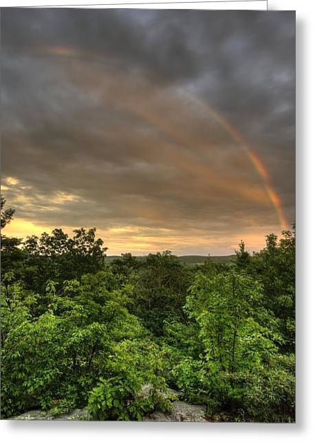 Rainbow On Soapstone Mt Greeting Card by J Scott Davidson