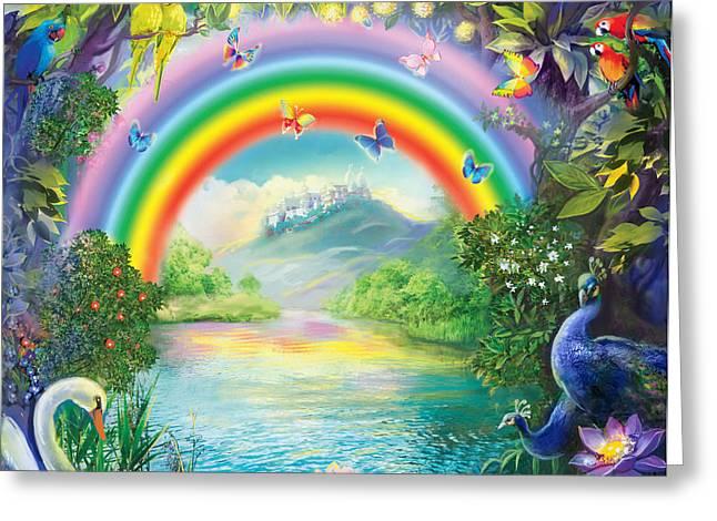 Backgraund Rainbow On Varshana  Greeting Card by Lila Shravani
