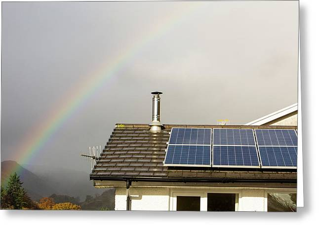 Rainbow Over A House With Solar Panels Greeting Card by Ashley Cooper