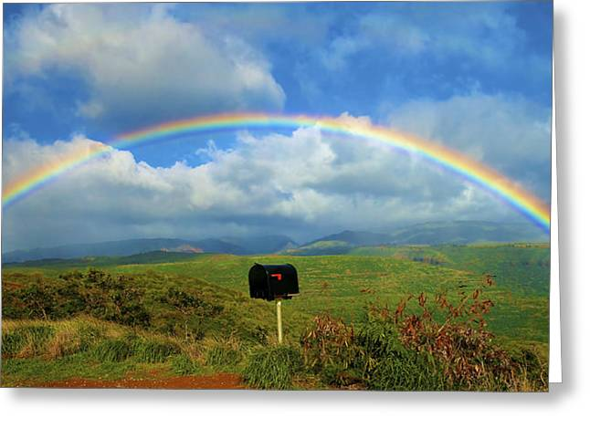 Rainbow Over A Mailbox Greeting Card by Kicka Witte
