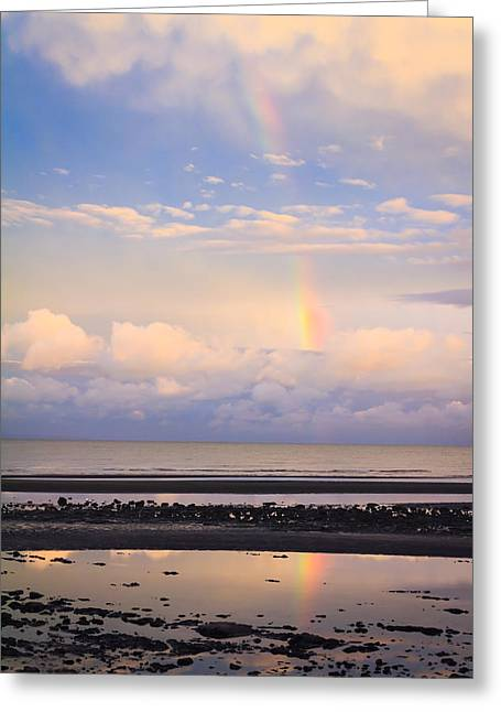 Greeting Card featuring the photograph Rainbow Over Bramble Bay by Peta Thames