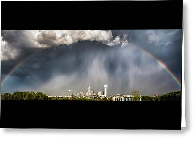 Rainbow Over Charlotte Greeting Card by Chris Austin