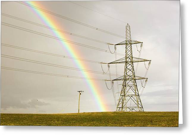 Rainbow Over Electricity Pylons Greeting Card by Ashley Cooper