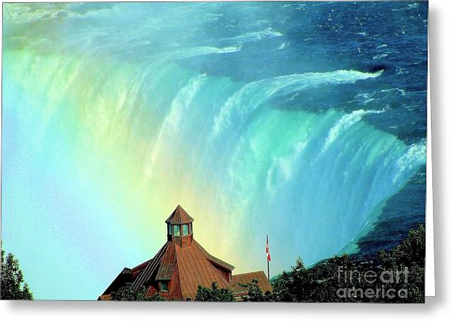 Greeting Card featuring the photograph Rainbow Over Horseshoe Falls by Janette Boyd
