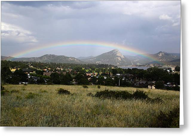 Rainbow Over Lake Estes Greeting Card
