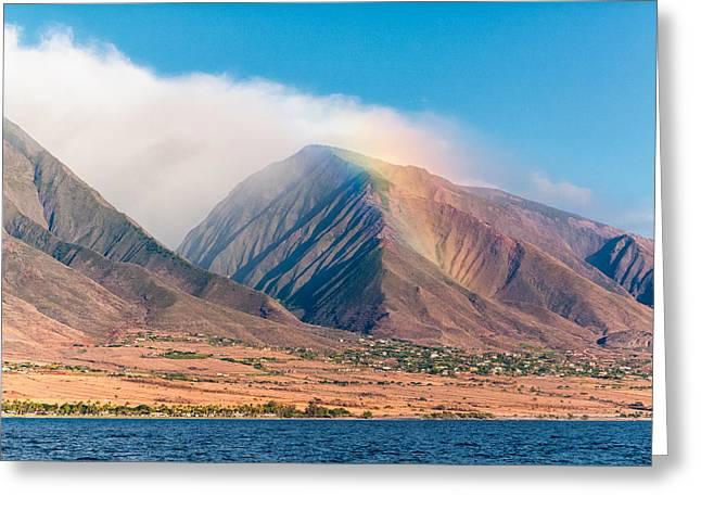Rainbow Over Maui Mountains   Greeting Card