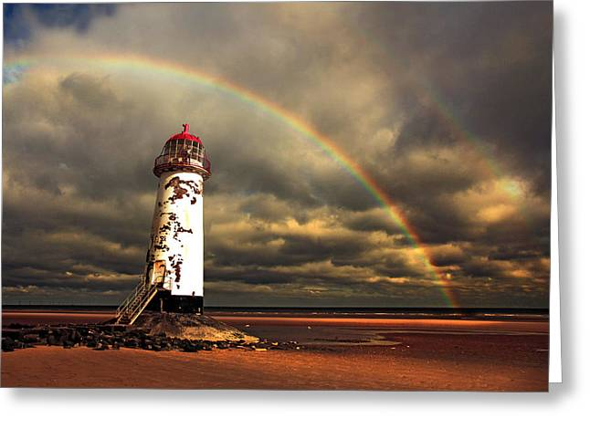 Rainbow Over Talacre Lighthouse Greeting Card by Mal Bray