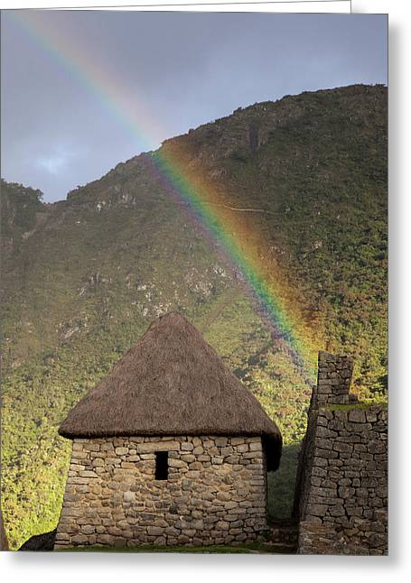 Rainbow Over Thatched Stone Hut Greeting Card