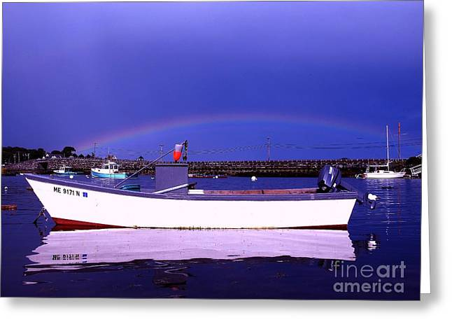 Rainbow Over The Cribstone Greeting Card by Donnie Freeman