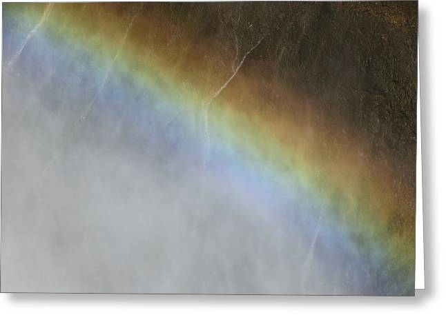 Greeting Card featuring the photograph Rainbow Over The Falls by Laurel Powell