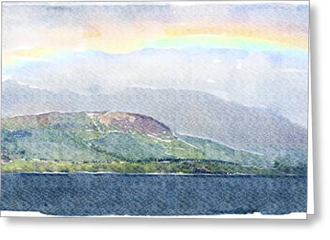 Rainbow Over The Isle Of Arran Greeting Card by Liz Leyden