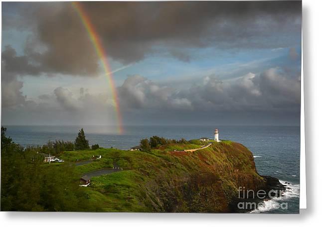 Rainbow Over Kilauea Lighthouse On Kauai Greeting Card