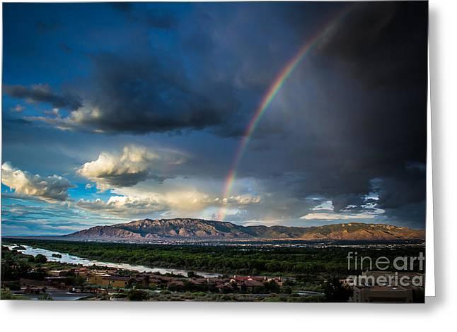 Rainbow Over The Sandias Greeting Card by Jim McCain
