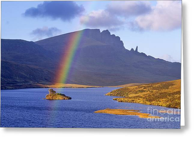 Rainbow Over The Storr Greeting Card by Derek Croucher