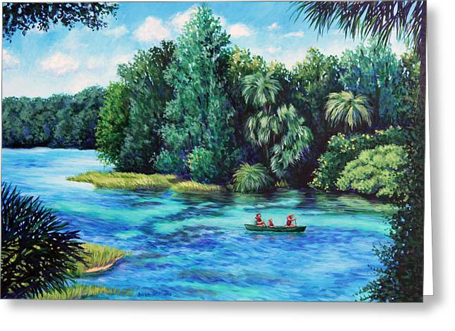 Greeting Card featuring the painting Rainbow River At Rainbow Springs Florida by Penny Birch-Williams