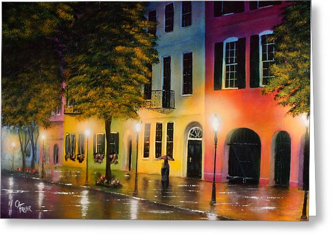 Greeting Card featuring the painting Rainbow Row by Chris Fraser